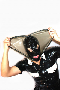 Latexmaske mit Latexhaube - 2in1 Latex Maske Transparent